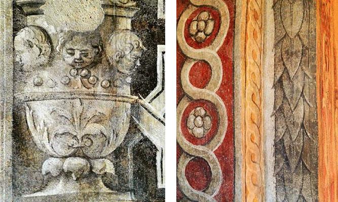 Vigevano piazza ducale: particolare affreschi originari
