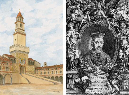 La rampa originaria di accesso alla torre e Giovanni Caramuel, Vescovo di Vigevano, fece erigere l'attuale facciata del Duomo